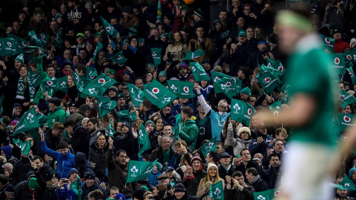 Ireland supporters with flags