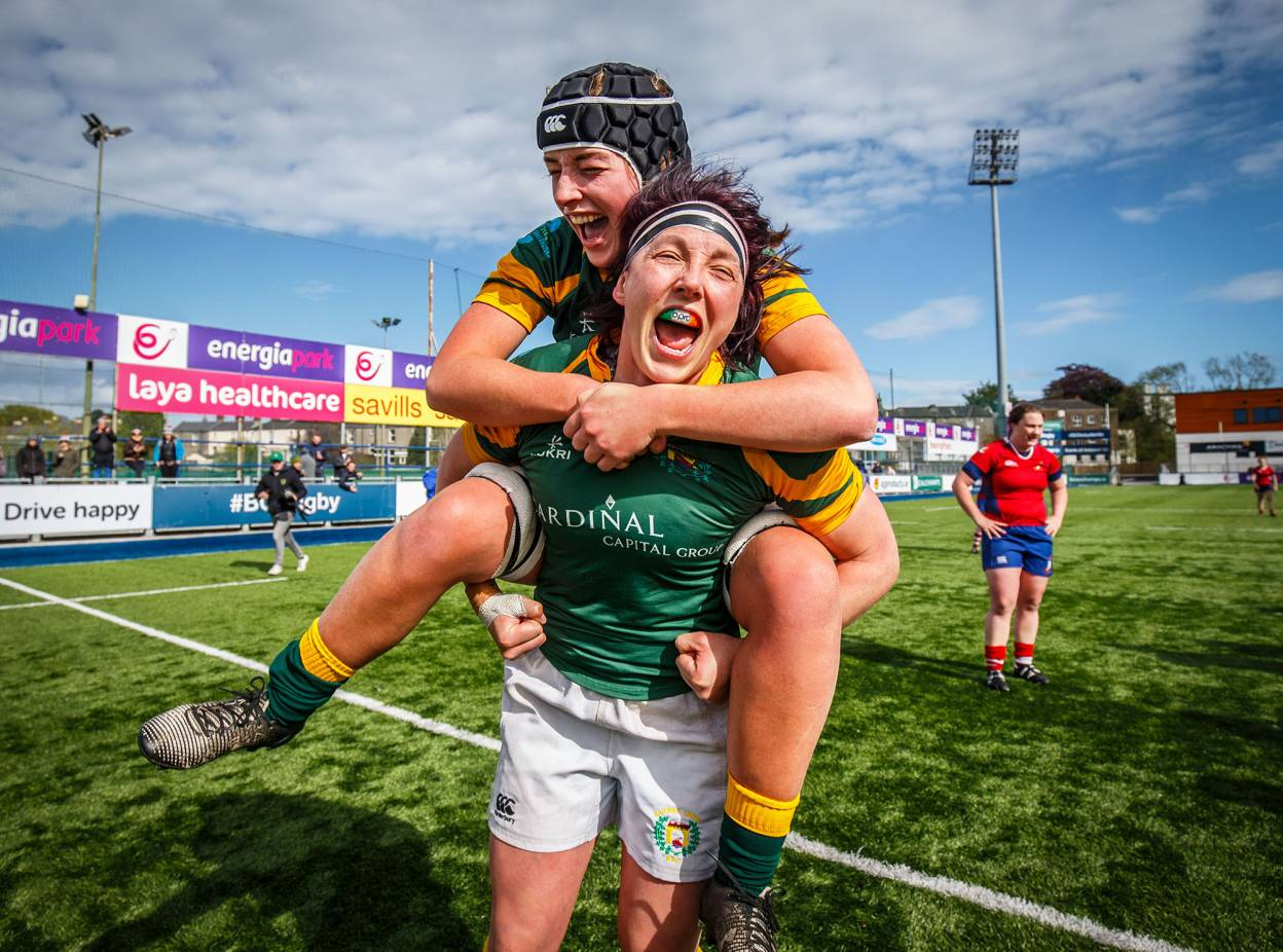 Railway Union's Daisy Earle and Lindsay Peat celebrate together following the club's 13-8 final win over defending champions UL Bohemians ©INPHO/Oisin Keniry