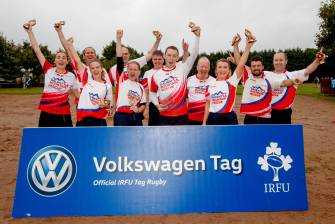 Volkswagen Tag Rugby Finals, Corinthians RFC, Galway 27/7/2018 Galway Mountain Rescue celebrate winning the Beginners Championship Div 2 Cup Final Mandatory Credit ©INPHO/James Crombie