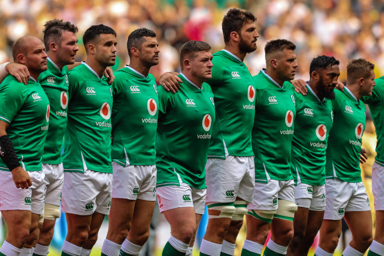 Ireland team line up for the anthems Rory Best Peter O'Mahony, Rob Kearney Tadhg Furlong Jean Kleyn CJ Stander Bundee Aki and Jordan Larmour Mandatory Credit ©INPHO/Billy Stickland