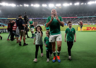 2019 Rugby World Cup Quarter-Final, Tokyo Stadium, Tokyo 19/10/2019 New Zealand All Blacks vs Ireland Ireland's Rory Best with his three children (L to R) Penny, Richie and Ben after the game Mandatory Credit ©INPHO/Dan Sheridan