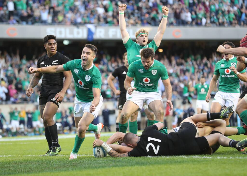 Solider Field, Chicago, USA 5/11/2016 Ireland vs New Zealand All Blacks Ireland's Conor Murray celebrates Robbie Henshaw's try Mandatory Credit ©INPHO/Billy Stickland