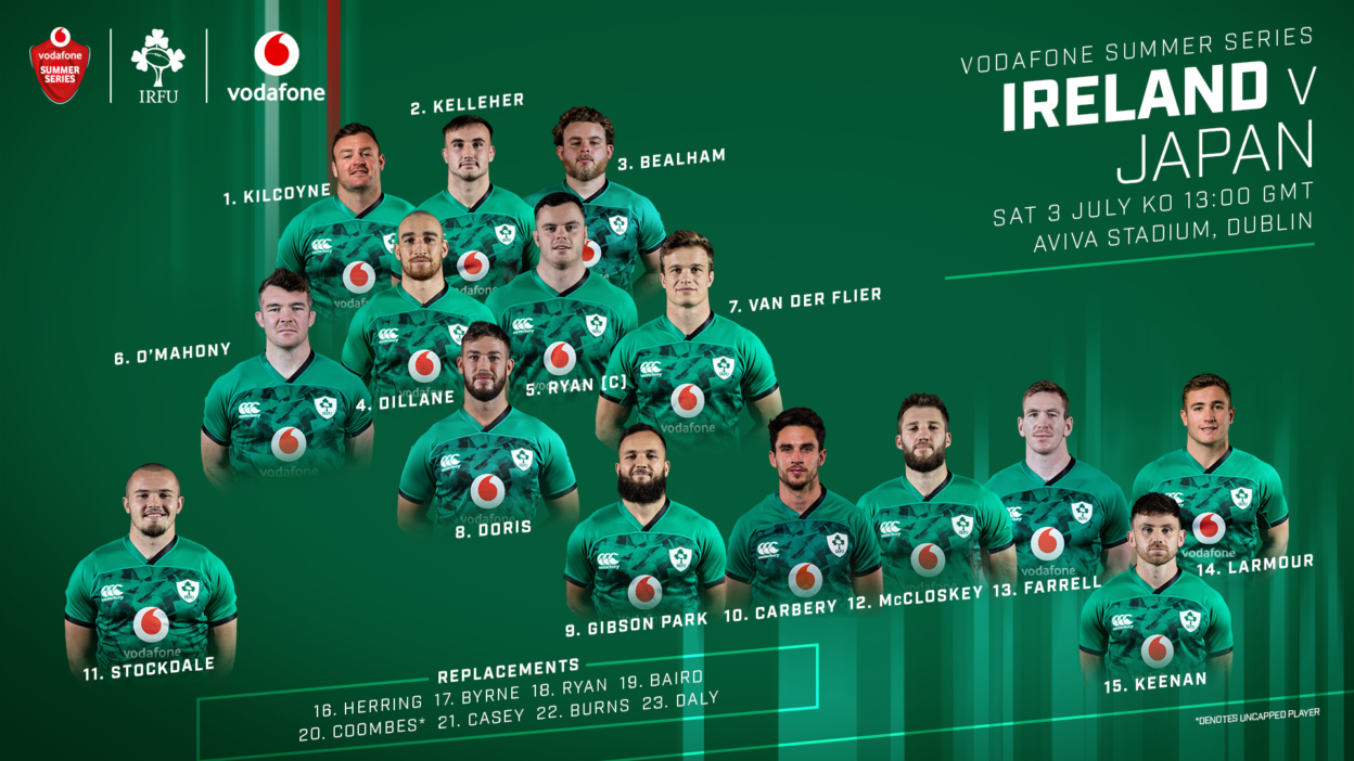 Ireland Team Named To Face Japan in Vodafone Summer Series Opener