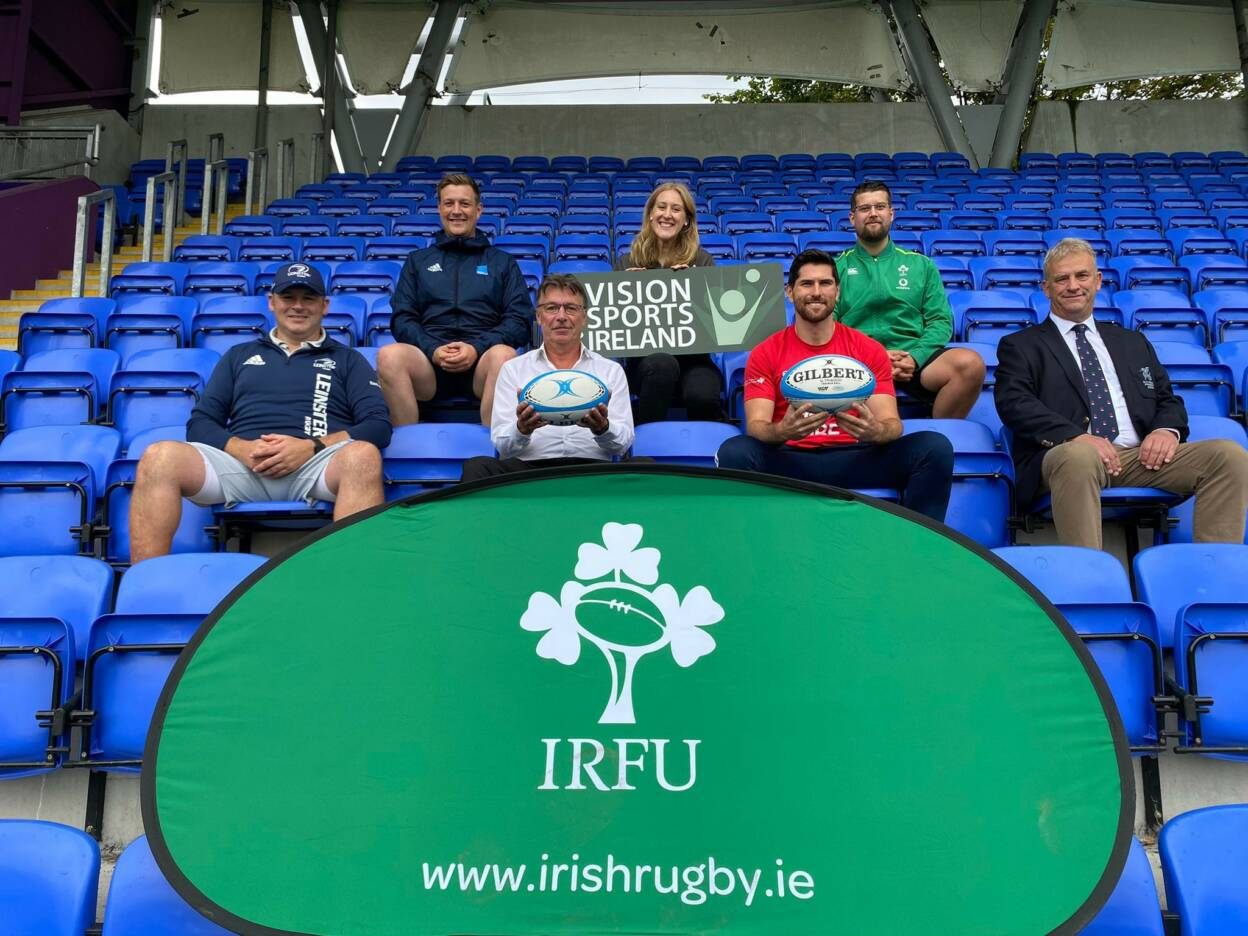 A photo of the launch of the Vision Impaired Rugby programme at Old Wesley